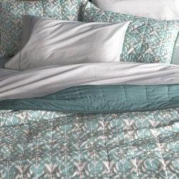 Ikat Aqua Quilt and Pillow Shams -