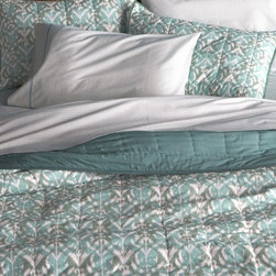 Ikat Aqua Quilt and Pillow Shams -