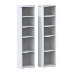 Nexera - Nexera Liber-T CD-DVD Towers, Set of 2 - Liber-T CD/DVD Towers from Nexera are sold in pair (2) and come with 3 dedicated spaces for CDs and 3 spaces for DVDs. The towers exactly match Liber-T 1-Door Bookcase height and can be paired with other Liber-T items to add storage and functionality in the living room and the office areas. Liber-T Collection is entirely modular and offers unlimited mix and match possibilities to create your own perfect entertainment or home office room settings. It is offered in a modern white melamine finish with elegant Walnut accents.