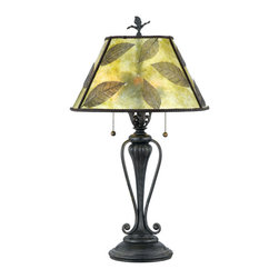 Quoizel - Quoizel Bronze Patina Lamps - SKU: MC410T - Features a green mica shade with leaf design and a bronze patina base.