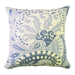 """kee design studio - Floreado Pillow, Delphinium - """"Floreado"""" is an original pattern by Kee Design Studio, inspired by a 1970's silk scarf found at a flea market in Paris. It is printed on a lovely cotton/linen blend fabric, has a knife-edge finish, and an invisible zipper. It features a full and fluffy 10/90 white goose down insert. Designed, printed, and made with love in the USA!"""