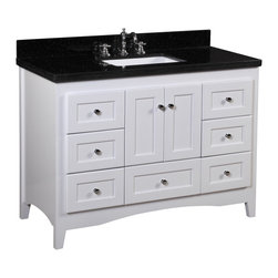 Kitchen Bath Collection - Abbey 48-in Bath Vanity (Black/White) - This bathroom vanity set by Kitchen Bath Collection includes a white Shaker-style cabinet with soft close drawers and self-closing door hinges, black granite countertop, single undermount ceramic sink, pop-up drain, and P-trap. Order now and we will include the pictured three-hole faucet and a matching backsplash as a free gift! All vanities come fully assembled by the manufacturer, with countertop & sink pre-installed.