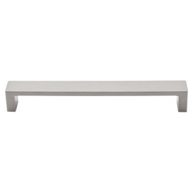 "Top Knobs - Modern Metro Pull 7"" (c-c) - Brushed Satin Nickel - Length - 7 3/8"", Width - 3/4"", Projection - 1 1/16"", Center to Center - 7"", Base Diameter - W 3/4"" x L 3/8"""