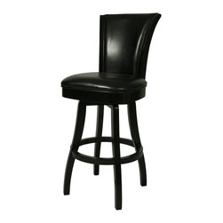"Pastel Furniture - Glenwood Swivel Barstool - The Glenwood barstool is beautifully made with classic design elements that will add that touch of style to any room. This swivel barstool features a quality wood frame with sturdy legs and foot rest finished in Feher Black. The padded seat is upholstered in Black Leather offering comfort and style. Available in 26"" counter or 30"" bar height. Assembled dimensions for this barstool: 44.49H x 18.89W x 23.62D"
