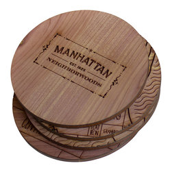Neighborwoods - Neighborwoods Coasters (Set of 4), Manhattan - These handcrafted cedar coasters make sure we never forget where we came from. And when that place is Manhattan, why would we want to!