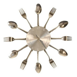 Fork and Spoon Dining Wall Clock - 15 diam.in. - Perfect for the culinary connoisseur the Fork and Spoon Dining Wall Clock - 15 diam. in. is a whimsically artistic piece. Constructed of silver-polished metal this decorative wall clock features a retro-inspired frame of forks and spoons to feed the senses.