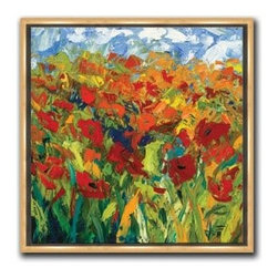 """Jeff Boutin - Spring Fling 11 x 11 Print - """"Spring Fling"""" is a contemporary canvas giclee by Jeff Boutin. We present this to you in a 1/2"""" gold floater frame with no lip or edge of frame overlapping the face of your picture. This makes for an overall framed size of 11 x 11."""