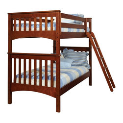 Bolton Furniture - Bolton Mission Twin Bunk Bed - Chestnut - 9920700 - Shop for Bunk Beds from Hayneedle.com! Perfect for a shared bedroom or for kids who love sleepovers this Bolton Mission Twin Bunk Bed - Chestnut has timeless appeal. Its well-made of hardwood solids and veneers in a warm chestnut finish. Both twin sized beds feature classic slatted headboards and footboards for a timeless mission feel. The ladder offers safe and easy access to the top bunk.About BoltonBolton Furniture is proud to offer consumers quality wood pieces at affordable prices since the early 1900s. Located in Vermont Bolton selects its lumber locally. Each piece is carefully crafted from the beginning stages of kiln drying to the packaging of the finished product. Having specialized in the detailed wood-craftsmanship of musical instruments Bolton Furniture perfected woodworking in the 1970s. This means that their furniture pieces are created with extreme attention to detail and superior precision. Bolton Furniture's reputation is built on its products - durable lasting and beautiful.