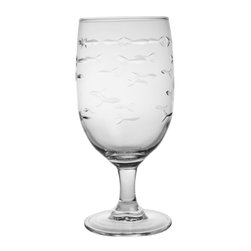 Rolf Glass - School of Fish Iced Tea 16oz, Set of 4 - Whether it's black, green or a tropical blend, these iced tea glasses crafted from cut glass hold just enough to quench any thirst. A school of artfully etched fish swims across every surface.