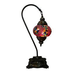 Jay Bazaar - Authentic Tribal Mosaic Lamp - Rainbow Swan - Authentic Desk Lamp , Moroccan Style Lamp , Night Lamp, Exotic Lamp
