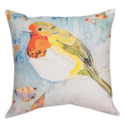 """Manual - Pair of """"Robin on A Branch"""" Watercolor Print Indoor / Outdoor Throw Pillows - This pair of 18 inch by 18 inch woven throw pillows adds a wonderful accent to your home or patio. The pillows have (No Suggestions) weatherproof exteriors, that resist both moisture and fading. The pillows feature the same watercolor Robin bird print on both front and back. They have 100% polyester stuffing. These pillows are crafted with pride in the Blue Ridge Mountains of North Carolina, and add a quality accent to your home. Original artwork by Fabrice de Villeneuve. They make great gifts for bird lovers."""