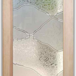 """Interior Glass Doors - Abstract Hills - CUSTOMIZE YOUR INTERIOR GLASS DOOR!  Interior glass doors ship for just $99 to most states, $159 to some East coast regions, custom packed and fully insured with a 1-4 day transit time.  Available any size, as interior door glass insert only or pre-installed in an interior door frame, with 8 wood types available.  ETA will vary 3-8 weeks depending on glass & door type.........Block the view, but brighten the look with a beautiful interior glass door featuring a custom frosted glass design by Sans Soucie!   Select from dozens of sandblast etched obscure glass designs!  Sans Soucie creates their interior glass door designs thru sandblasting the glass in different ways which create not only different levels of privacy, but different levels in price.  Bathroom doors, laundry room doors and glass pantry doors with frosted glass designs by Sans Soucie become the conversation piece of any room.   Choose from the highest quality and largest selection of frosted decorative glass interior doors available anywhere!   The """"same design, done different"""" - with no limit to design, there's something for every decor, regardless of style.  Inside our fun, easy to use online Glass and Door Designer at sanssoucie.com, you'll get instant pricing on everything as YOU customize your door and the glass, just the way YOU want it, to compliment and coordinate with your decor.   When you're all finished designing, you can place your order right there online!  Glass and doors ship worldwide, custom packed in-house, fully insured via UPS Freight.   Glass is sandblast frosted or etched and bathroom door designs are available in 3 effects:   Solid frost, 2D surface etched or 3D carved. Visit our site to learn more!"""