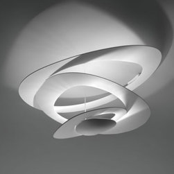 """Artemide - Artemide Pirce Ceiling Light - The Pirce Ceiling Light has been designed by Giuseppe Maurizio Scutelle  for Artemide in Italy. Symbolic, Playful and functional, the Pirce ceiling light entertains and illuminates our surroundings by creating a perfect balance of light, shape and materials. Composed of irregular shaped rings of aluminum that have been painted white assembled in a harmonious manner that reflects and attracts at the same time. Illumination is provided by 1 x 400W R7s Halogen.  Product Details:    The Pirce Ceiling Light has been designed by Giuseppe Maurizio Scutelle  for Artemide in Italy. Symbolic, Playful and functional, the Pirce ceiling light entertains and illuminates our surroundings by creating a perfect balance of light, shape and materials. Composed of irregular shaped rings of aluminum that have been painted white assembled in a harmonious manner that reflects and attracts at the same time. Illumination is provided by 1 x 400W R7s Halogen or 1 x 42W LED.   Details:     Manufacturer:  Artemide   Designer:  Giuseppe Maurizio Scutelle      Made in:  Italy     Dimensions:   Height: 17"""" (44 cm) X Width: 38"""" (97 cm) X Length: 37"""" (94 cm)     Light bulb:   1 x 400W R7s Halogen or 1 x 42W LED      Material:  Aluminum"""