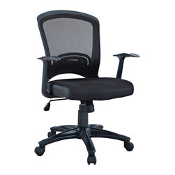 LexMod - Pulse Mesh Office Chair in Black - Drive onward in your office tasks with this upright and ergonomic mesh office chair. Let the breathable mesh back and plush fabric cushion seat serve as a simple extension to your everyday home and business ventures. Pulse includes a passive lumbar support and two sturdy armrests to help keep your posture vertical and potent. Fitted with five hooded dual-caster wheels, give yourself the ability to easily glide over carpeted floors while correctly guessing your next destination.