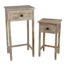 Privilege - Wood 2-piece Rustic Plant Stand - This set of two (2) rustic plant stands will create a sense of antiquity no matter what they are used to display or store. Their unique design is sure to catch the eye of family and guests as they relish in the comforting style.