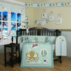 "Geenny - Boutique Sea World Animal 13 Piece Crib Bedding Set - This listing is for a 13 piece beautiful Geenny brand new crib set with all the bundle you will need. This set is made to fit all standard cribs and toddler beds. The whole set comes with 10 pieces plus 3 new wall art decor hangings, which comes out as a total 13 piece bundle. The set is made by Geenny Designs, well known as Nursery Series Products Designs. All bundled pieces are in a brand new zippered, handled carrying bag. Dress up and decorate your baby's room with this beautiful 13 piece crib bedding set. Features: -Set includes: Crib quilt, two valances, skirt, crib sheet, bumper, diaper stacker, toy bag, two pillows, three wall hangings. -Material: 65 / 35 Percent of Polyester / Cotton. -Crib quilt: 45"" H x 36"" W. -Crib bumper: 10"" W x 158"" D. -Fitted crib sheet: 52"" H x 28"" W. -Window valances: 16"" H x 58"" W. -Crib skirt: 28"" H x 52"" W. -Toy bag: 20"" H x 14"" W. -Decorative accent pillows: 10"" H x 10"" W. -Machine washable."