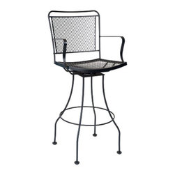 Woodard - Woodard Constantine Wrought Iron Swivel Bar Stool with Optional Cushion Multicol - Shop for Chairs and Sofas from Hayneedle.com! You'll find the Woodard Constantine Wrought Iron Coil Spring Dining Chair with Optional Cushion an ideal choice for your patio bar table high countertop or bar surface. This tall stool is supported by a solid wrought-iron frame that's hand-crafted for a unique design. Its high back and curved seat feature an iron mesh support system. Curved lines dominate the look of the legs arm rests and profile of the piece. The seat has a side-to-side swivel that lets you dismount the stool and enjoy conversation without uncomfortable shifting. A protective finish keeps the iron surface safe from scratches and rust available in your choice of finishes. The stool comes with a thickly padded cushion with several choices of upholstery color.Important NoticeThis item is custom-made to order which means production begins immediately upon receipt of each order. Because of this cancellations must be made via telephone to 1-800-351-5699 within 24 hours of order placement. Emails are not currently acceptable forms of cancellation. Thank you for your consideration in this matter.Woodard: Hand-crafted to Withstand the Test of TimeFor over 140 years Woodard craftsmen have designed and manufactured products loyal to the timeless art of quality furniture construction. Using the age-old art of hand-forming and the latest in high-tech manufacturing Woodard remains committed to creating products that will provide years of enjoyment.Superior Materials for Lasting DurabilityEach piece in the Classics Collection is hand-formed using solid wrought iron stock: the heaviest available. The technique used to create Woodard wrought iron furniture has been handed down from generation to generation. To this day expert workers use anvils and hammers to forge intricate detail in the iron.In the Aluminum Collections Woodard's trademark for excellence begins with a core of 