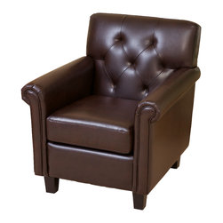 Great Deal Furniture - Benito Tufted Brown Leather Club Chair - The Benito Tufted chair embodies all the classic features of a club packed in a small size. It is upholstered in brown bonded leather, with a tufted backrest and well padded seat and armrests. Whether placed in your living room, bedroom or office, the size makes it perfect for any small spaces.