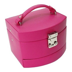 Morelle - Laura expandable Leather Jewelry Box, Raspberry. - This spacious jewelry box opens up to 3 expandable drawers making it nice and roomy for the organized woman with lots of jewelry and accessories. Features mirror on inside lid with lock and key for safety.