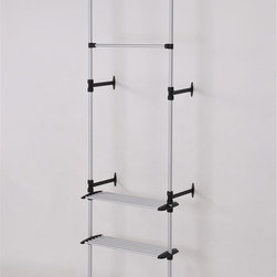 ORE International - Simple Modern 2-Tier Telescopic Clothes Rack - This original modern and simple two tier clothes rack is designed to maximize hanging capacity, while reduce cluttering space. Includes one high hanger for long clothing with two lower tiers, each with 6 additional hanging bars for organization and practicality . This sleek and attractive clothes hanger is reinforced with stylish sturdy wall mounts, while the small and compact size made this design great for storage and mobility   . Made with durable and stainless steel finished with a matte coat. 34 in. L x 13 in. W x 89-106 in. H (5 lbs.)