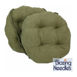 Blazing Needles - Blazing Needles 16x16-inch Round Microsuede Dining Chair Cushions (Set of 2) - Tie these plush, tufted cushions onto your indoor dining chairs for a comfortable seating experience. Available in six bold colors, these round cushions are covered with a soft premium microsuede fabric.