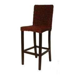 WickerParadise - Seagrass Bar Stool Set of 2 - Barbados - For a look that's classic with a twist, set these stools into your bar scene. The clean lines and mahogany base are the perfect complement to the textured woven sea grass seat.