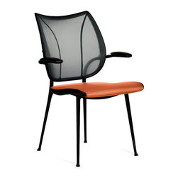 Humanscale - Liberty Side Chair - Orange you in the market for new guest seating? Here's a chair with real style a-peel. The shield shaped back features breathable, body-contouring black mesh atop a juicy, padded tangerine seat.
