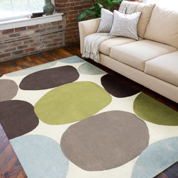 None - Hand-tufted Contemporary Multi Colored Circles Abstract Rug - This hand-tufted rug features a durable and allergen-free poly-acrylic construction. Shades of pale blue,raisin,chocolate,limeade and pale mint highlight this rug.