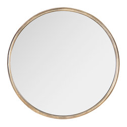 Kathy Kuo Home - Libby Hollywood Regency Thin Frame Antique Bronze Round Mirror - Large - Simply elegant and stylish, this large round mirror is endlessly versatile. Whether it's next to the front door, above the sink in the bathroom or hanging on the wall in your bedroom, the tasteful piece is pretty and practical. At only one-inch thick, this mirror is a perfect solution for enhancing small spaces.