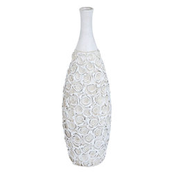 "Benzara - Modern Ceramic Bottle Vase in White Color - Beautify your interiors with this elegant white ceramic pot. It is a glorious addition to any decor. Keep it in your dark office interiors and infuse life to it. Embrace it with beautiful roses, or orchids and your interiors are ready to look exotic. Timeless design allows the vase to suit perfectly with any modern or conventional decor and its sheer elegance allows it to be a prized asset of your interiors. If you plan to bring it home, your living room would be ideal place to grace the vase. Made with the finest quality ceramic to offer it a beautiful, durable and long life, this vase is white in color with a flower design all over the pot and a plain neck. It is also a nice gifting option.; Suits modern and conventional decor; Made of high quality ceramic; Elegant design with sturdy looks; Durable and long lasting; Weight: 11 lbs; Dimensions:7""W x 7""D x 24""H"