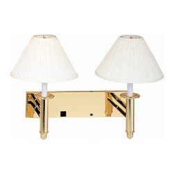 Cal Lighting - Double Wall Sconce Lamp w Extras - Add light and function to your room with this double wall sconce!  It features beige and brass colors with to lamps.  The included power outlet and data port make this an extremely functional way to add some light.  Consider hanging this set in your guest room so your guests can have the amenities that they would have at home!  Mount it on the wall between two beds or use it in an office or anywhere extra light and décor is desired. * 3 way switch. 2 fixed arm lamps. Data port and power outlet. Beige and polished brass finish. H: 19 in.. Base: 20 in.
