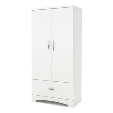 South Shore - Armoire in Pure White - Includes two hooks for hanging scarves, ties or other items. Elegant metal handles in a brushed nickel finish. Simple lines and stylish kick plate, for a contemporary style that coordinates with virtually any décor. Features three storage compartments behind the doors. Separated by two adjustable shelves that can support a weight up to 15 pounds each. Features one spacious drawer. Drawer slides made from polymer which feature a safety latch and dampers. Warranty: Five years limited. Made from laminated particle boards. Made in Canada. Assembly required. 35.5 in. W x 18 in. D x 54.5 in. H (119 lbs.). Assembly InstructionsThanks to its neutral finish and timeless look, the sleek lines of this armoire blend perfectly into today's trendiest décors. It is a very convenient storage addition to any bedroom furniture ensemble.