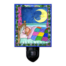 Sweet Dreams Night Light - Our Sweet dreams Night Light will make any child feel safe at night. It is made of a print of original watercolor, which is sandwiched in between two layers of durable acrylic. The light is UL approved and comes with a standard four watt night light bulb. Gift box included. Made in the USA. (Be sure to look for our iris wall clock, too!)