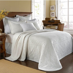 Historic Charleston Collection - King Charles Matelasse White Twin Bedspread-Only - - Steeped in Historic Charleston?s rich, classic style and decorative arts culture, the King Charles 100% cotton matelass� bedding collection offers a unique blend of European, Caribbean, and Asian influences.   - King Charles matelass� bedding offers a luxuriously soft bedspread, coverlet, bed skirt, shams and decorative accent pillows featuring classic 19th century motifs representing the sun, a topiary, a pheasant, and a pineapple.   - The superior design of the King Charles matelass� bedding ensemble can be traced back to England circa 1820, incorporating key influences from that time period including the fine arts and superior craftmanship.   - Each piece is crafted individually on special weaving looms to create the luxurious design that defines this lovely matelass� bedding collection.   - Highs and lows created during the jacquard weaving process allow the intricate designs and motifs to come to life.   - Designs from the archives of Historic Charleston?s heritage, were interpreted to create the lovely King Charles bedding set.   - Rolling arches, half-moons, double diamonds and scrolling vine details wrap around the classic topiary, pheasant, sun and pineapple motifs.   - Coverlet and bedspread drape beautifully over the bed to reveal rounded corners.   - Pair the bedspread or coverlet with bed skirt to create a complete look.   - Add coordinating, decorative shams and pillows to create the ultimate bedroom oasis.   - The heavy-weight, stonewashed matelass� of King Charles bedding ensures life-long durability and style for generations to come.   - Twin bedspread measures 80W x 112L.   - Crafted in Portugal.   - Stone-Washed.   - 100% cotton matelass�.   - The Historic Charleston Foundation was established in 1947 and is a nonprofit organization whose mission is to preserve and protect the historical, architectural and material culture that make up Charleston?s rich and irreplaceable heritage.   - Twin bedspread only, all other coordinating pieces sold separately.   - No decorative objects included. Historic Charleston Collection - 11182TWINBDWH
