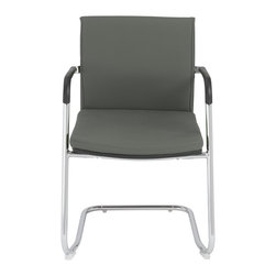 Euro Style - Euro Style Baird Visitor Chair (Pack of 2) X-YRG99600 - No nonsense and a lot of style. In gray or mustard yellow this chair is modestly modern. The chromed steel frame is slightly 'springy' without giving up one bit of structural integrity. And fabric over foam seat and back lends just the right touch of warmth.