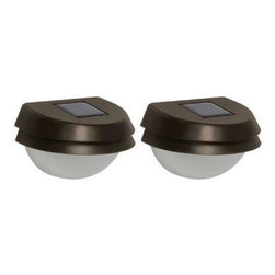 Malibu Lighting - 2 Pack Solar Fence Light - Stamped metal fence light with plastic lens in oil rubbed bronze finish with warm white LEDs.