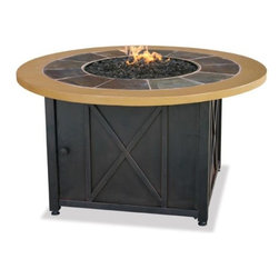 Fire Features - Your backyard party just got better with the irresistible LP Gas Outdoor Firebowl. Handcrafted dark slate and faux wood design make this firebowl a great accent piece in your outdoor living space. Includes bronze colored glass for a special touch. Change the mood of your Firebowl with a traditional Log-Kit or Blue, Black or White Fire Glass.