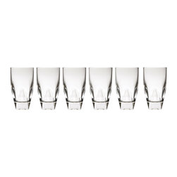 "Lorren Home Trends - Diamonte Collection Tall Drinking Glass By RCR Italy - Set of 6 - This set of 6 double tall drinking glass from the RCR Diamonte Collection features a simple design on a tapered glass to create a look that works great for any occasion.  Made in the Tuscan region of Italy, this clean cut beautiful glass will match and coordinate with any style.   Easy to handle glass with a great and comfortable feel.  Great to use for any type of beverage from juices to your favorite cocktail.  Each glass measures 3"" x 3"" x 5.5"" and holds 12 ounces.   Lead free crystal for safe usage.  Dishwasher safe. Made in Italy"