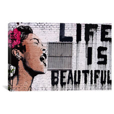 Artwork Banksy 'Life Is Beautiful' Canvas Print Wall Art