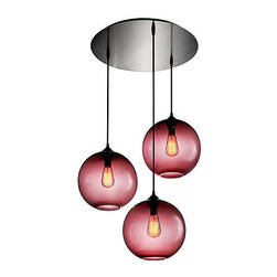 Circular 3 Multi-Pendant Modern Chandelier - These hand-blown bulbs would look gorgeous hanging down over a table or greeting guests in the entry. Choose a different shape or color for the bulbs, or stick with this sultry red — there are lots of customization options.