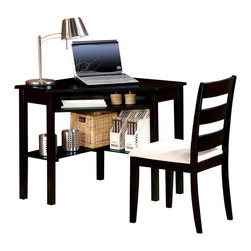 Adarn Inc - 2 PC Modern Functional Black Sand Computer Writing Corner Desk Chair Set Shelves - This simple and stylish corner desk and chair set will be a welcome addition to your home and help you to make the most of your space. The computer desk fits right into a corner, with a generous smooth work top for your computer monitor, keyboard and mouse. A hidden storage shelf under the table top provide space for your office accessories. The lower open shelves between the legs provide enough space for other items. The matching chair features wide slatted back and soft seat cushioned in microfiber. Finished in black sand finish. Accessories not included.