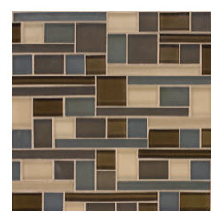 Random Glass Mosaic - Randomized glass tile hown is available in many colors and in iridescent or matte finishes.