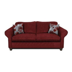 "Chelsea Home Libby Sofa - Tahoe Burgundy / Celeste Ruby - A dark red color scheme complemented by silver-based throw pillows make this Chelsea Home Libby Sofa - Tahoe Burgundy / Celeste Ruby a true standout in your living room, lounge area or basement den. Contemporary in its design, at seven-feet-wide the sofa comfortably sits three for gatherings with friends or family for movie nights or holiday celebrations. It also offers plenty of room for you to stretch out to comfortably enjoy a movie or drift off for a well-deserved nap. The sofa, which features a unique two-cushion design, was constructed of select solid wood that ensures durability over years of use or potential relocations – whether that's simply across the room or clear across town. The cushions were made with resilient 1.8 density foam and no-sag springs, which promotes comfort and prevents that annoying, ""sinking in"" feeling. The two throw pillows feature a silver base with circular red, white and silver patterns and serve as head rests during naps or additional arm rests when settling in to watch television. About Chelsea Home FurnitureProviding home elegance in upholstery products such as recliners, stationary upholstery, leather, and accent furniture including chairs, chaises, and benches is the most important part of Chelsea Home Furniture's operations. Bringing high quality, classic and traditional designs that remain fresh for generations to customers' homes is no burden, but a love for hospitality and home beauty. The majority of Chelsea Home Furniture's products are made in the USA, while all are sought after throughout the industry and will remain a staple in home furnishings."