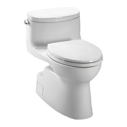 Toto - Toto MS644114CEFG#01 Carolina II 1-Piece High-Efficiency Toilet, 1.28 GPF - Toto MS644114CEFG#01 cotton white 1.28GPF Carolina II 1-Piece Toilet. Toto is the world's largest plumbing products manufacturer, they have been designing and innovating plumbing fixtures, accessories, showers, toilets, flush valves, Air Baths and urinals for over 90 years. Each collection and product that Toto makes is unique in appearance and performance. This Toto MS644114CEFG#01 cotton white 1.28GPF Carolina II 1-Piece Toilet features Toto's patented glazing process (SanaGloss). This Finish is engineered to minimize any particles from sticking to the porous surface of the ceramic toilet bowl. This Toilet also includes an elongated toilet bowl, Double cyclone flushing system, and a Universal height. This Toilet comes in cotton white.