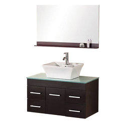 """Design Element - Design Element Madrid Espresso Wall-Mount Single Vessel Vanity Set - 36"""" - The Madrid 36"""" Vanity set is elegantly constructed of solid hardwood. The tempered glass counter tops natural aqua color brings a clean and contemporary look to any bathroom. Seated at the base of the ceramic designer sink is a chrome finished pop up drain designed for easy one touch draining. A full size mirror with matching espresso accent shelving is included. Built into the vanity are four drawers and a soft closing cabinet. The Madrid Bathroom Vanity is designed as a center piece to awe-inspire the eye without sacrificing quality, functionality or durability."""