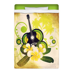 Hawaiian Plumeria and Guitar Twin Surfer Bedding Sheet Set - Feel Dreamy In Our Twin Size Hawaiian Plumeria and Guitar Sheet Set!  Sheets are made of a lightweight microfiber for the ultimate experience in softness~ extremely breathable!