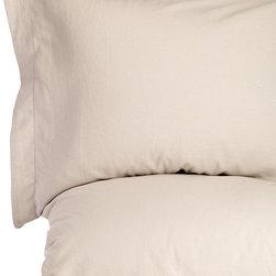 Melange Home - Linen Cotton Prewashed Hemstitch Duvet Set, Natural, King - Details: