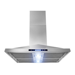 "AKDY - AKDY AG-Z9001 Euro Stainless Steel Island Mount Range Hood, 36"" - This 36 in. convertible island-mount canopy hood not only provides excellent performance, but looks great as well. It features a powerful 870-CFM motor and has three fan-speed settings and 6 in. round duct to work perfectly with your needs. The dishwasher-safe baffle filter is a breeze to clean up, and optional recirculating kits are available. Its sleek stainless steel design brings more elegance to your kitchen. Model available in 30"", 36"" and 48""."
