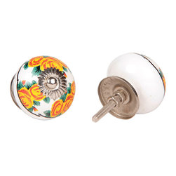 MarktSq - Ceramic Knob (Yellow Flowers) Set of 4 - This gorgeous ceramic knob is sure to brighten up your furniture and cheer up the space. Sold as a set of 4.