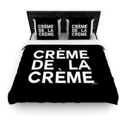 """Kess InHouse - Geordanna Cordero-Fields """"Creme De La Creme"""" Black White Cotton Duvet Cover (Que - Rest in comfort among this artistically inclined cotton blend duvet cover. This duvet cover is as light as a feather! You will be sure to be the envy of all of your guests with this aesthetically pleasing duvet. We highly recommend washing this as many times as you like as this material will not fade or lose comfort. Cotton blended, this duvet cover is not only beautiful and artistic but can be used year round with a duvet insert! Add our cotton shams to make your bed complete and looking stylish and artistic!"""